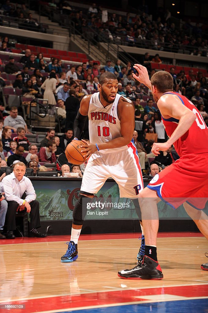 Greg Monroe #10 of the Detroit Pistons protects the ball during the game between the Detroit Pistons and the Philadelphia 76ers on April 15, 2013 at The Palace of Auburn Hills in Auburn Hills, Michigan.