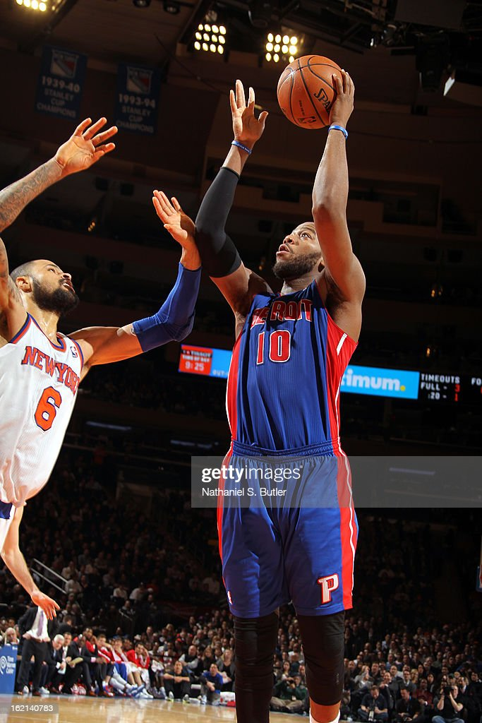 Greg Monroe #10 of the Detroit Pistons puts up a shot against the New York Knicks on February 4, 2013 at Madison Square Garden in New York City.