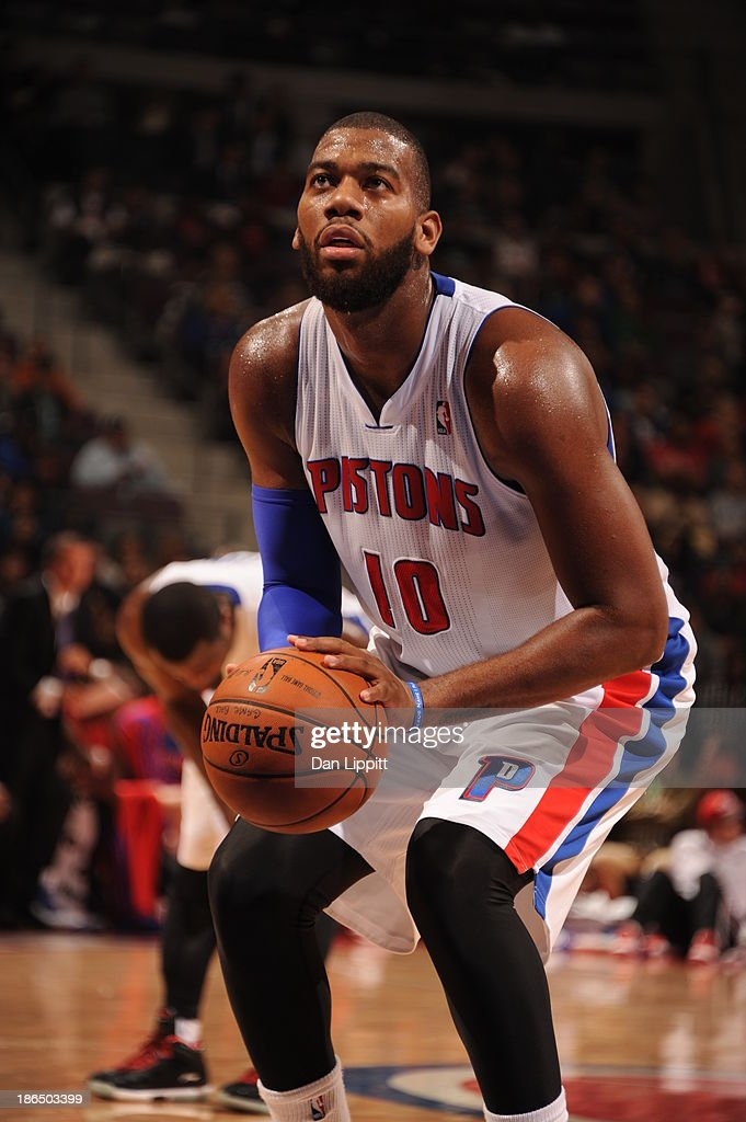 <a gi-track='captionPersonalityLinkClicked' href=/galleries/search?phrase=Greg+Monroe&family=editorial&specificpeople=5042440 ng-click='$event.stopPropagation()'>Greg Monroe</a> #10 of the Detroit Pistons shoots a foul shot against the Washington Wizards during the game on October 30, 2013 at The Palace of Auburn Hills in Auburn Hills, Michigan.