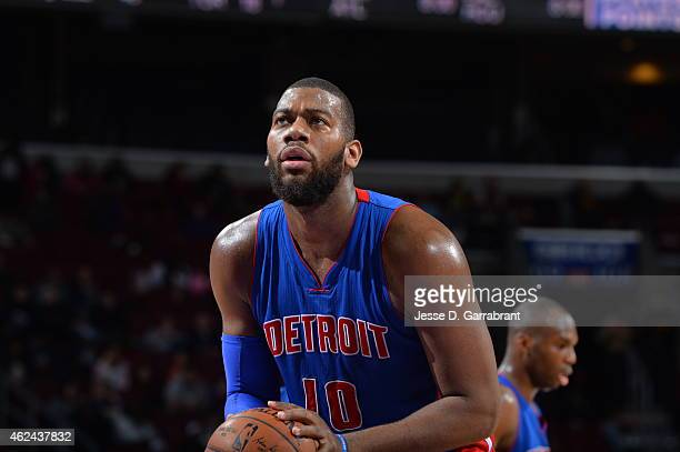Greg Monroe of the Detroit Pistons shoots a foul shot against the Philadelphia 76ers at Wells Fargo Center on January 28 2015 in Philadelphia...