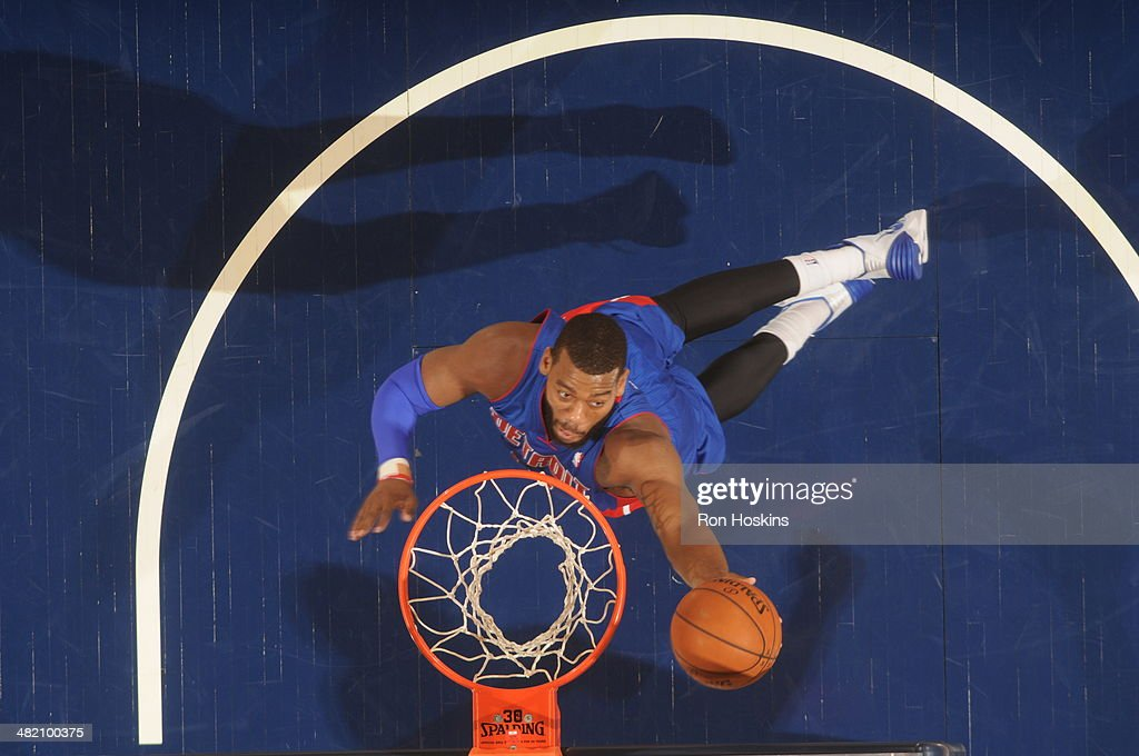 <a gi-track='captionPersonalityLinkClicked' href=/galleries/search?phrase=Greg+Monroe&family=editorial&specificpeople=5042440 ng-click='$event.stopPropagation()'>Greg Monroe</a> #10 of the Detroit Pistons shoots a layup against the Indiana Pacers at Bankers Life Fieldhouse on April 2, 2014 in Indianapolis, Indiana.