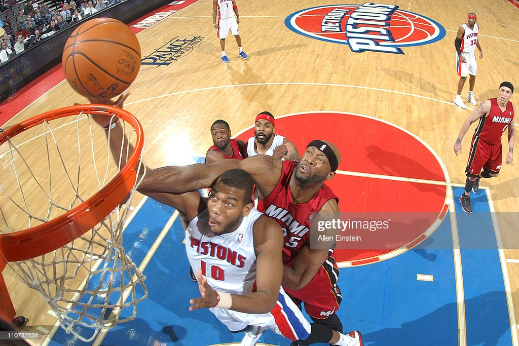 <a gi-track='captionPersonalityLinkClicked' href=/galleries/search?phrase=Greg+Monroe&family=editorial&specificpeople=5042440 ng-click='$event.stopPropagation()'>Greg Monroe</a> #10 of the Detroit Pistons shoots against <a gi-track='captionPersonalityLinkClicked' href=/galleries/search?phrase=Erick+Dampier&family=editorial&specificpeople=201710 ng-click='$event.stopPropagation()'>Erick Dampier</a> #25 of the Miami Heat on March 23, 2011 at The Palace of Auburn Hills in Auburn Hills, Michigan.