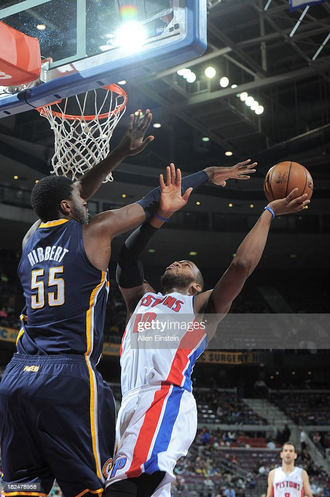 <a gi-track='captionPersonalityLinkClicked' href=/galleries/search?phrase=Greg+Monroe&family=editorial&specificpeople=5042440 ng-click='$event.stopPropagation()'>Greg Monroe</a> #10 of the Detroit Pistons shoots against <a gi-track='captionPersonalityLinkClicked' href=/galleries/search?phrase=Roy+Hibbert&family=editorial&specificpeople=725128 ng-click='$event.stopPropagation()'>Roy Hibbert</a> #55 of the Indiana Pacers on February 23, 2013 at The Palace of Auburn Hills in Auburn Hills, Michigan.