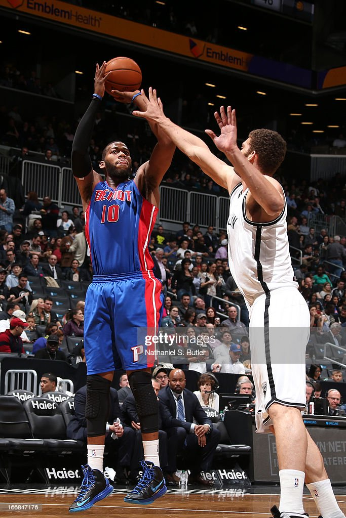 Greg Monroe #10 of the Detroit Pistons shoots against the Brooklyn Nets on April 17, 2013 at the Barclays Center in the Brooklyn borough of New York City.
