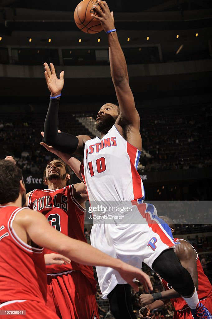 <a gi-track='captionPersonalityLinkClicked' href=/galleries/search?phrase=Greg+Monroe&family=editorial&specificpeople=5042440 ng-click='$event.stopPropagation()'>Greg Monroe</a> #10 of the Detroit Pistons shoots against the Chicago Bulls on December 7, 2012 at The Palace of Auburn Hills in Auburn Hills, Michigan.