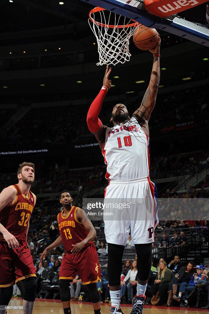 <a gi-track='captionPersonalityLinkClicked' href=/galleries/search?phrase=Greg+Monroe&family=editorial&specificpeople=5042440 ng-click='$event.stopPropagation()'>Greg Monroe</a> #10 of the Detroit Pistons shoots against the Cleveland Cavaliers on March 26, 2014 at The Palace of Auburn Hills in Auburn Hills, Michigan.