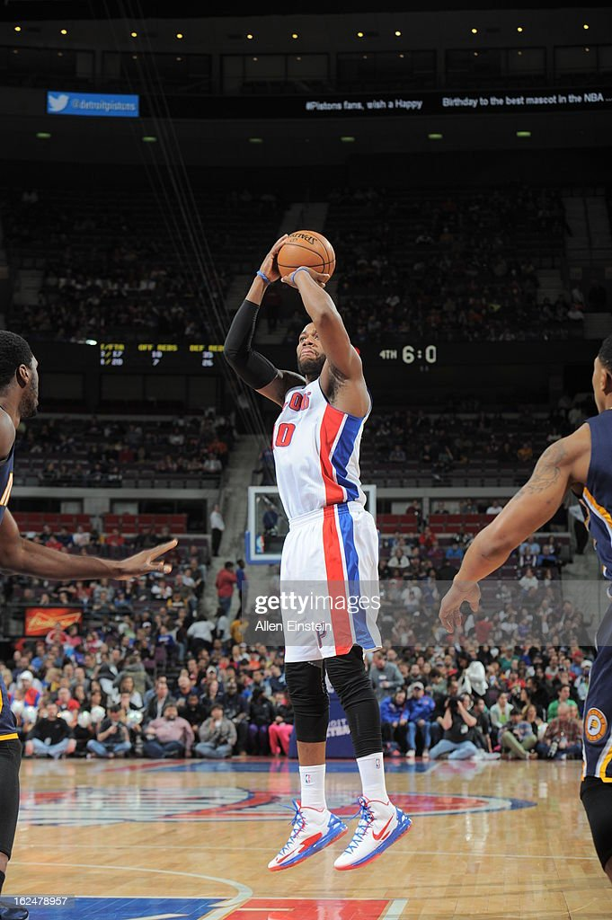 <a gi-track='captionPersonalityLinkClicked' href=/galleries/search?phrase=Greg+Monroe&family=editorial&specificpeople=5042440 ng-click='$event.stopPropagation()'>Greg Monroe</a> #10 of the Detroit Pistons shoots against the Indiana Pacers on February 23, 2013 at The Palace of Auburn Hills in Auburn Hills, Michigan.