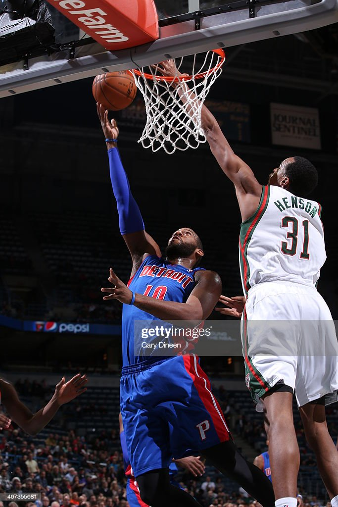 <a gi-track='captionPersonalityLinkClicked' href=/galleries/search?phrase=Greg+Monroe&family=editorial&specificpeople=5042440 ng-click='$event.stopPropagation()'>Greg Monroe</a> #10 of the Detroit Pistons shoots against the Milwaukee Bucks on December 4, 2013 at the BMO Harris Bradley Center in Milwaukee, Wisconsin.