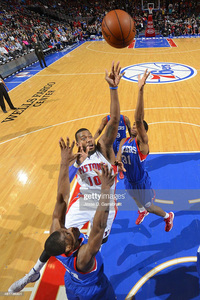 <a gi-track='captionPersonalityLinkClicked' href=/galleries/search?phrase=Greg+Monroe&family=editorial&specificpeople=5042440 ng-click='$event.stopPropagation()'>Greg Monroe</a> #10 of the Detroit Pistons shoots against the Philadelphia 76ers at the Wells Fargo Center on March 29, 2014 in Philadelphia, Pennsylvania.