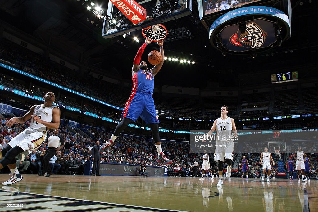 <a gi-track='captionPersonalityLinkClicked' href=/galleries/search?phrase=Greg+Monroe&family=editorial&specificpeople=5042440 ng-click='$event.stopPropagation()'>Greg Monroe</a> #10 of the Detroit Pistons shoots dunks the ball against the New Orleans Pelicans during an NBA game on December 11, 2013 at the New Orleans Arena in New Orleans, Louisiana.