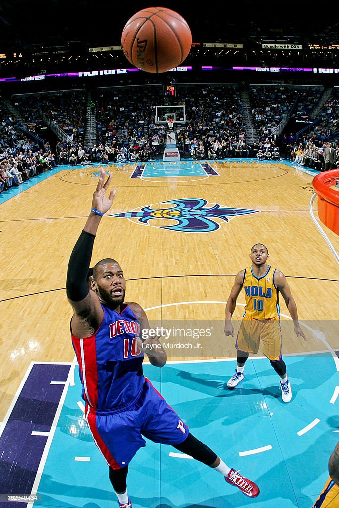 <a gi-track='captionPersonalityLinkClicked' href=/galleries/search?phrase=Greg+Monroe&family=editorial&specificpeople=5042440 ng-click='$event.stopPropagation()'>Greg Monroe</a> #10 of the Detroit Pistons shoots in the lane against the New Orleans Hornets on March 1, 2013 at the New Orleans Arena in New Orleans, Louisiana.