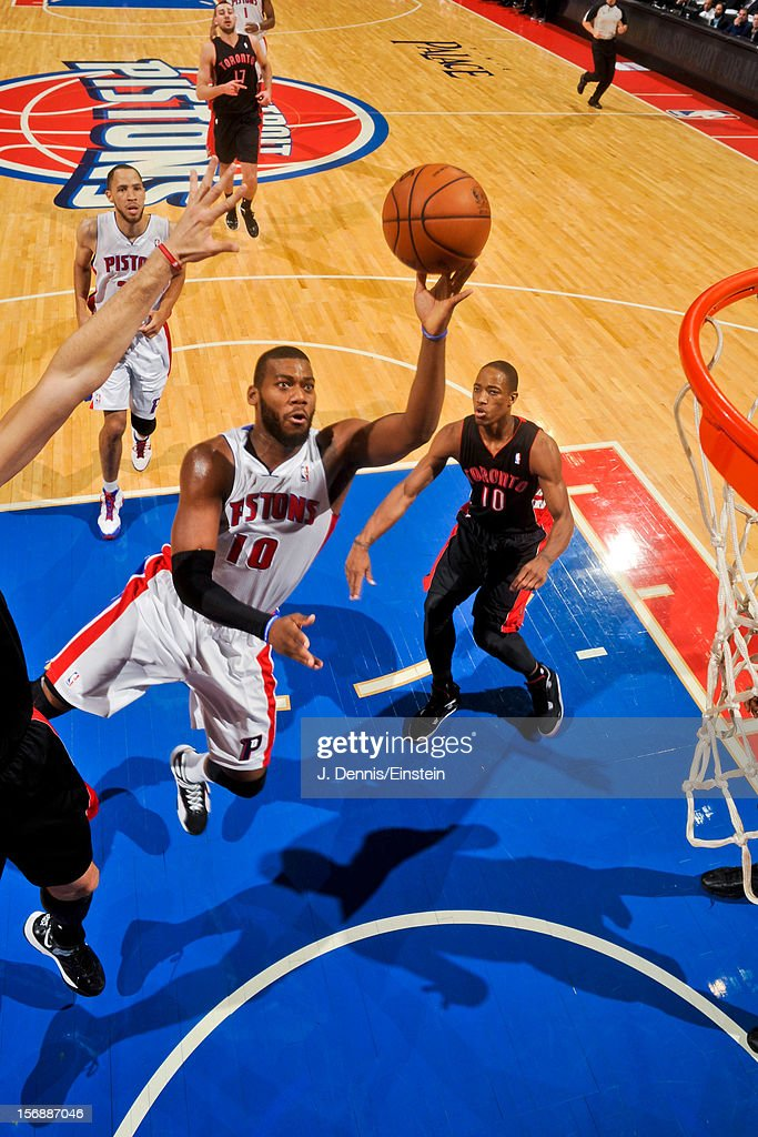 <a gi-track='captionPersonalityLinkClicked' href=/galleries/search?phrase=Greg+Monroe&family=editorial&specificpeople=5042440 ng-click='$event.stopPropagation()'>Greg Monroe</a> #10 of the Detroit Pistons shoots in the lane against the Toronto Raptors on November 23, 2012 at The Palace of Auburn Hills in Auburn Hills, Michigan.