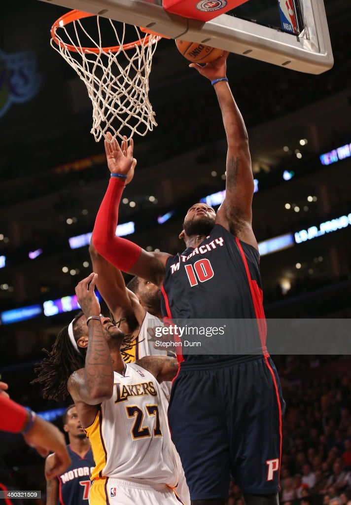 <a gi-track='captionPersonalityLinkClicked' href=/galleries/search?phrase=Greg+Monroe&family=editorial&specificpeople=5042440 ng-click='$event.stopPropagation()'>Greg Monroe</a> #10 of the Detroit Pistons shoots over <a gi-track='captionPersonalityLinkClicked' href=/galleries/search?phrase=Jordan+Hill+-+Basketball+Player&family=editorial&specificpeople=13503530 ng-click='$event.stopPropagation()'>Jordan Hill</a> #27 of the Los Angeles Lakers at Staples Center on November 17, 2013 in Los Angeles, California. The Lakers won 114-99.