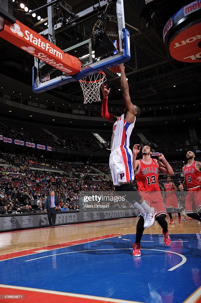 <a gi-track='captionPersonalityLinkClicked' href=/galleries/search?phrase=Greg+Monroe&family=editorial&specificpeople=5042440 ng-click='$event.stopPropagation()'>Greg Monroe</a> #10 of the Detroit Pistons shoots the ball against the Chicago Bulls during the game on March 5, 2014 at The Palace of Auburn Hills in Auburn Hills, Michigan.