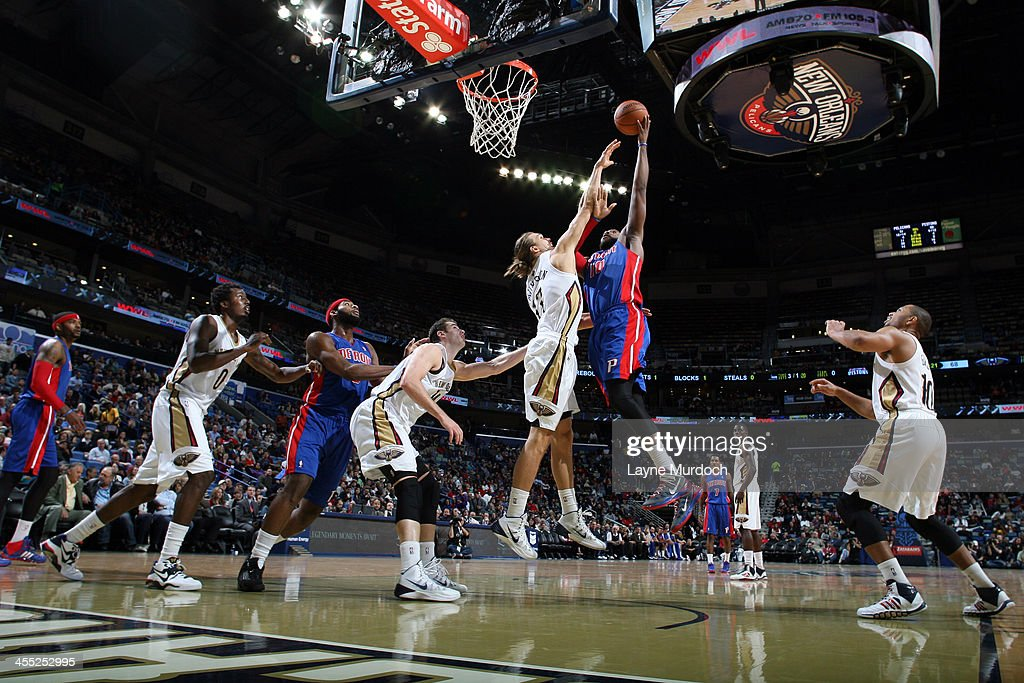 <a gi-track='captionPersonalityLinkClicked' href=/galleries/search?phrase=Greg+Monroe&family=editorial&specificpeople=5042440 ng-click='$event.stopPropagation()'>Greg Monroe</a> #10 of the Detroit Pistons shoots the ball against the New Orleans Pelicans during an NBA game on December 11, 2013 at the New Orleans Arena in New Orleans, Louisiana.
