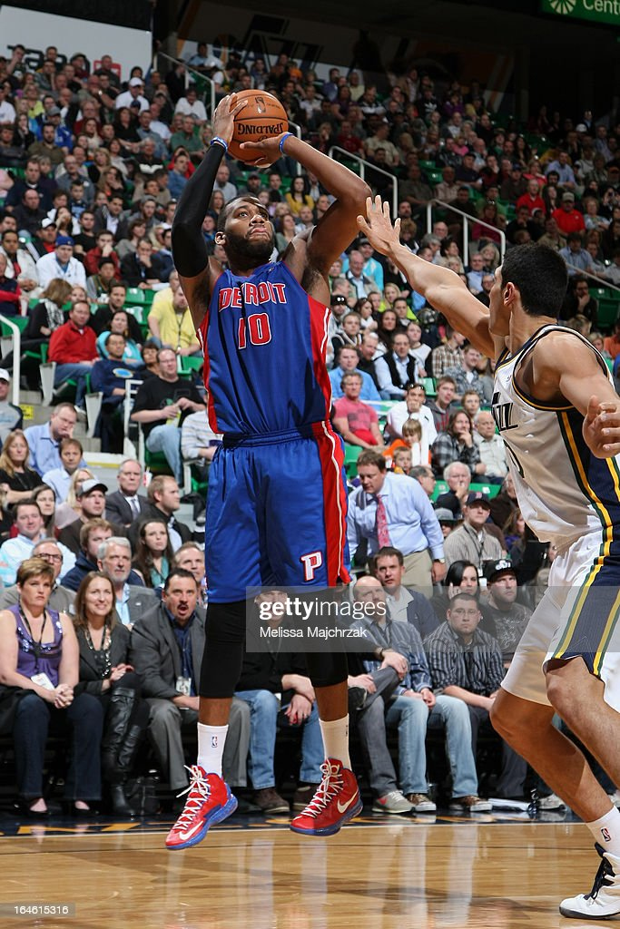 <a gi-track='captionPersonalityLinkClicked' href=/galleries/search?phrase=Greg+Monroe&family=editorial&specificpeople=5042440 ng-click='$event.stopPropagation()'>Greg Monroe</a> #10 of the Detroit Pistons shoots the ball against the Utah Jazz on March 11, 2013 in Salt Lake City, Utah.