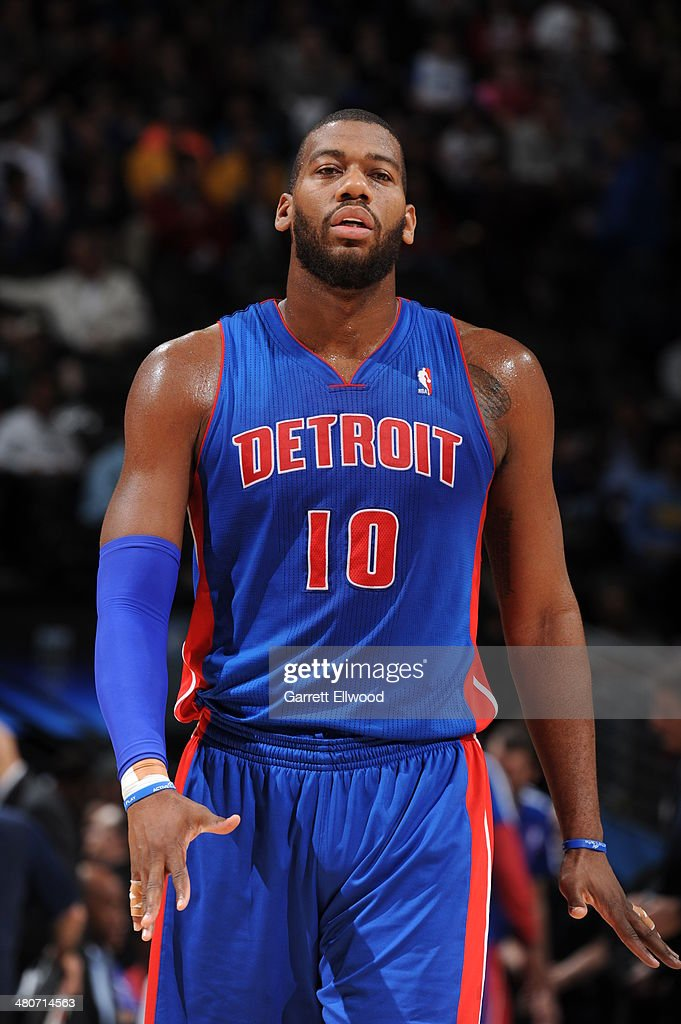 <a gi-track='captionPersonalityLinkClicked' href=/galleries/search?phrase=Greg+Monroe&family=editorial&specificpeople=5042440 ng-click='$event.stopPropagation()'>Greg Monroe</a> #10 of the Detroit Pistons stands on the court during a game against the Denver Nuggets on March 19, 2014 at the Pepsi Center in Denver, Colorado.