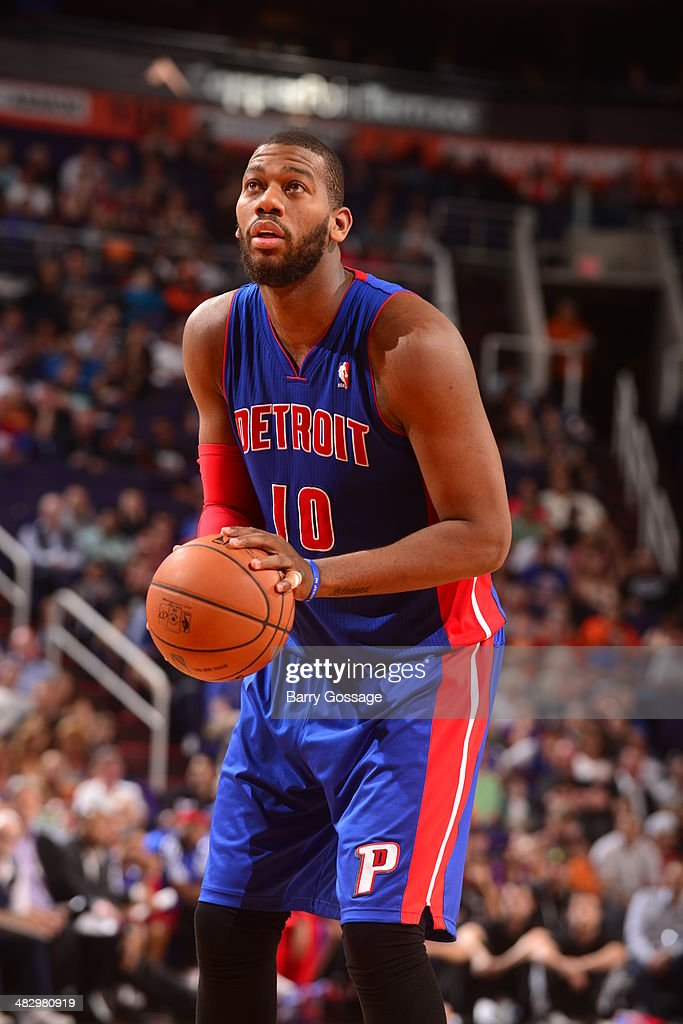 <a gi-track='captionPersonalityLinkClicked' href=/galleries/search?phrase=Greg+Monroe&family=editorial&specificpeople=5042440 ng-click='$event.stopPropagation()'>Greg Monroe</a> #10 of the Detroit Pistons takes a free throw against the Phoenix Suns on March 21, 2014 at U.S. Airways Center in Phoenix, Arizona.