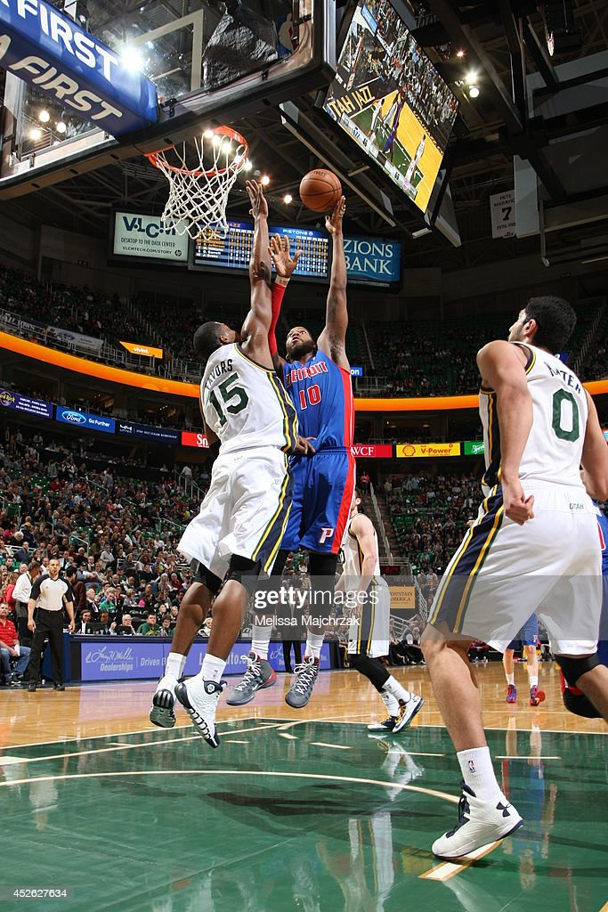<a gi-track='captionPersonalityLinkClicked' href=/galleries/search?phrase=Greg+Monroe&family=editorial&specificpeople=5042440 ng-click='$event.stopPropagation()'>Greg Monroe</a> #10 of the Detroit Pistons takes a shot against the Utah Jazz at EnergySolutions Arena on March 24, 2014 in Salt Lake City, Utah.