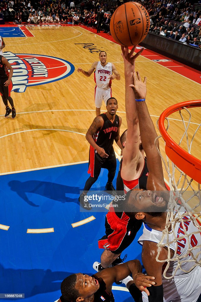 <a gi-track='captionPersonalityLinkClicked' href=/galleries/search?phrase=Greg+Monroe&family=editorial&specificpeople=5042440 ng-click='$event.stopPropagation()'>Greg Monroe</a> #10 of the Detroit Pistons tries for a rebound against the Toronto Raptors on November 23, 2012 at The Palace of Auburn Hills in Auburn Hills, Michigan.