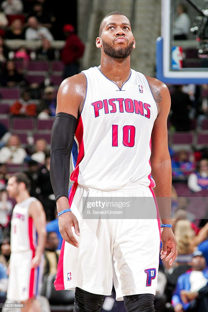 <a gi-track='captionPersonalityLinkClicked' href=/galleries/search?phrase=Greg+Monroe&family=editorial&specificpeople=5042440 ng-click='$event.stopPropagation()'>Greg Monroe</a> #10 of the Detroit Pistons waits to resume action against the Atlanta Hawks on February 25, 2013 at The Palace of Auburn Hills in Auburn Hills, Michigan.