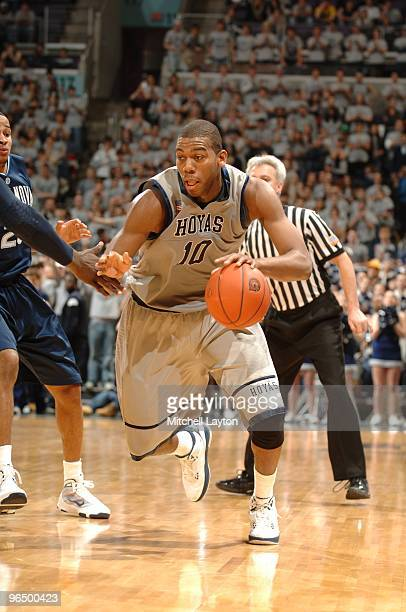 Greg Monroe of the Georgetown Hoyas dribbles the ball during a college basketball game against the Villanova Wildcats on February 6 2010 at the...