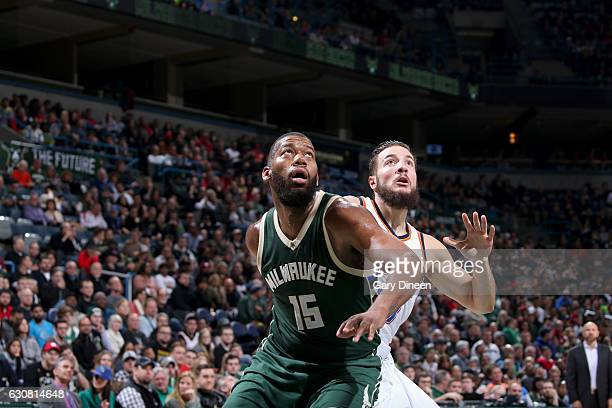 Greg Monroe of the Milwaukee Bucks boxes out against the Oklahoma City Thunder on January 2 2017 at the BMO Harris Bradley Center in Milwaukee...