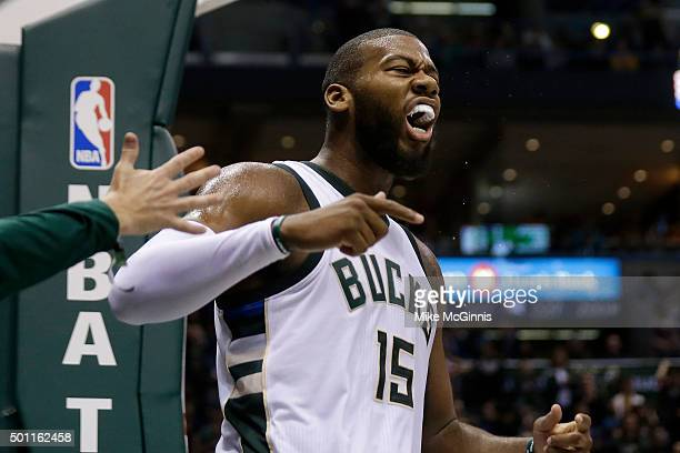 Greg Monroe of the Milwaukee Bucks draws the foul after driving to the hoop for two points during the fourth quarter against the Golden State...