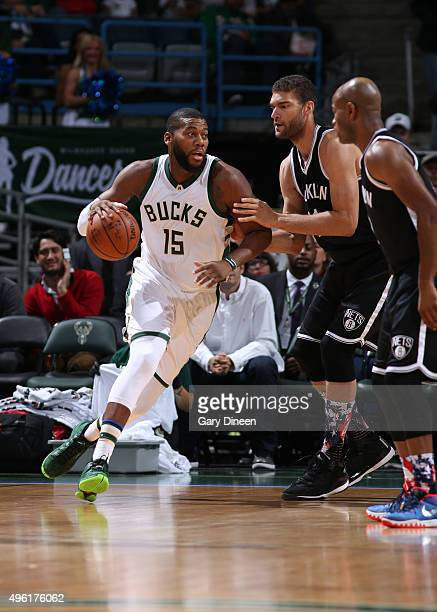 Greg Monroe of the Milwaukee Bucks dribbles the ball against the Brooklyn Nets on November 7 2015 at the BMO Harris Bradley Center in Milwaukee...