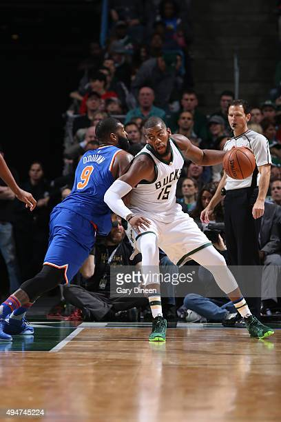 Greg Monroe of the Milwaukee Bucks handles the ball against the New York Knicks on October 28 2015 at the BMO Harris Bradley Center in Milwaukee...