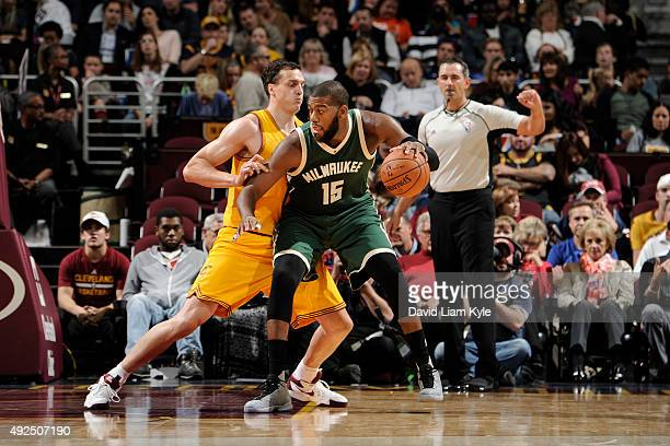 Greg Monroe of the Milwaukee Bucks handles the ball against the Cleveland Cavaliers on October 13 2015 at Quicken Loans Arena in Cleveland Ohio NOTE...