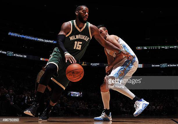 Greg Monroe of the Milwaukee Bucks handles the ball against the Denver Nuggets on November 11 2015 at the Pepsi Center in Denver Colorado NOTE TO...