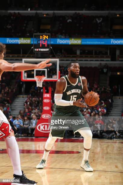 Greg Monroe of the Milwaukee Bucks handles the ball against the Chicago Bulls during the preseason game on October 6 2017 at the United Center in...