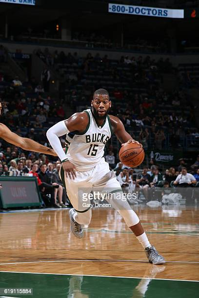 Greg Monroe of the Milwaukee Bucks handles the ball during a game against the Brooklyn Nets on October 29 2016 at BMO Harris Bradley Center in...