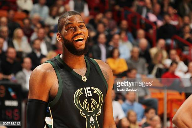 Greg Monroe of the Milwaukee Bucks looks on during the game against the Miami Heat on January 19 2016 at AmericanAirlines Arena in Miami Florida NOTE...