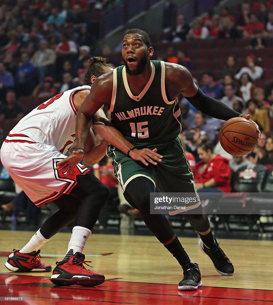 <a gi-track='captionPersonalityLinkClicked' href=/galleries/search?phrase=Greg+Monroe&family=editorial&specificpeople=5042440 ng-click='$event.stopPropagation()'>Greg Monroe</a> #15 of the Milwaukee Bucks moves around <a gi-track='captionPersonalityLinkClicked' href=/galleries/search?phrase=Joakim+Noah&family=editorial&specificpeople=699038 ng-click='$event.stopPropagation()'>Joakim Noah</a> #13 of the Chicago Bulls during a preseason game at the United Center on October 6, 2015 in Chicago, Illinois. Note to User: User expressly acknowledges and agrees that, by downloading and or using the photograph, User is consenting to the terms and conditiopns of the Getty Images License Agreement.