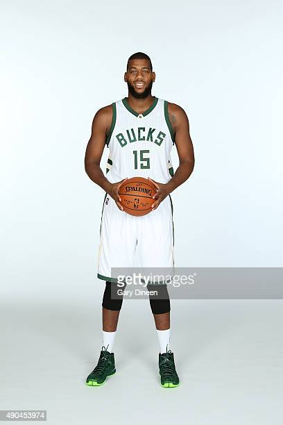Greg Monroe of the Milwaukee Bucks poses for a portrait during Media Day on September 28 2015 at the Orthopaedic Hospital of Wisconsin Training...