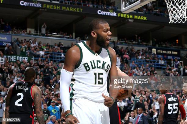 Greg Monroe of the Milwaukee Bucks reacts during the game against the Toronto Raptors in Game Four during the Eastern Conference Quarterfinals of the...