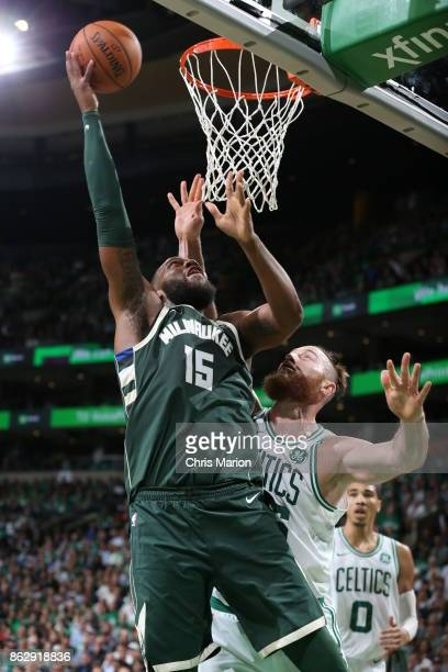 Greg Monroe of the Milwaukee Bucks shoots the ball against the Boston Celtics on October 18 2017 at the TD Garden in Boston Massachusetts NOTE TO...