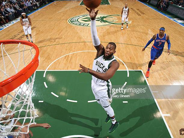 Greg Monroe of the Milwaukee Bucks shoots the ball against the New York Knicks on October 28 2015 at the BMO Harris Bradley Center in Milwaukee...
