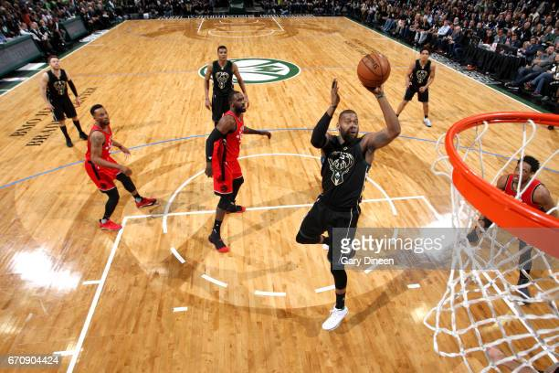 Greg Monroe of the Milwaukee Bucks shoots the ball against the Toronto Raptors during Game Three of the Eastern Conference Quarterfinals of the 2017...