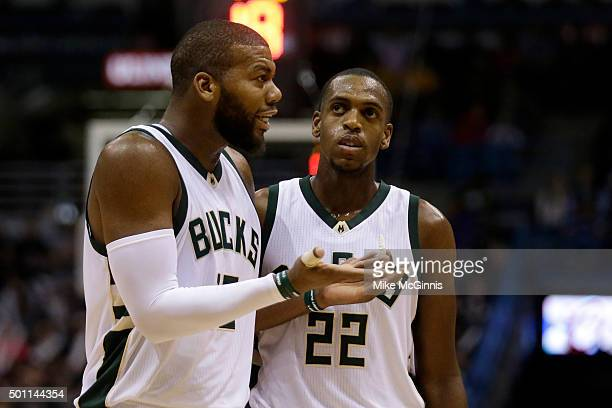 Greg Monroe of the Milwaukee Bucks talks to the referee after getting called for a technical foul during the third quarter against the Golden State...