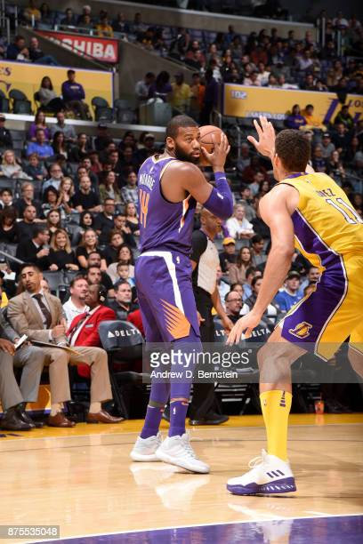 Greg Monroe of the Phoenix Suns handles the ball against the Los Angeles Lakers on November 17 2017 at STAPLES Center in Los Angeles California NOTE...