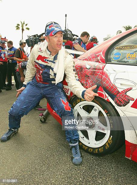 Greg Murphy of the Kmart Racing Team celebrates after he won race two of the Gillette Supercar Challenge which is round 11 of the V8 Supercar...