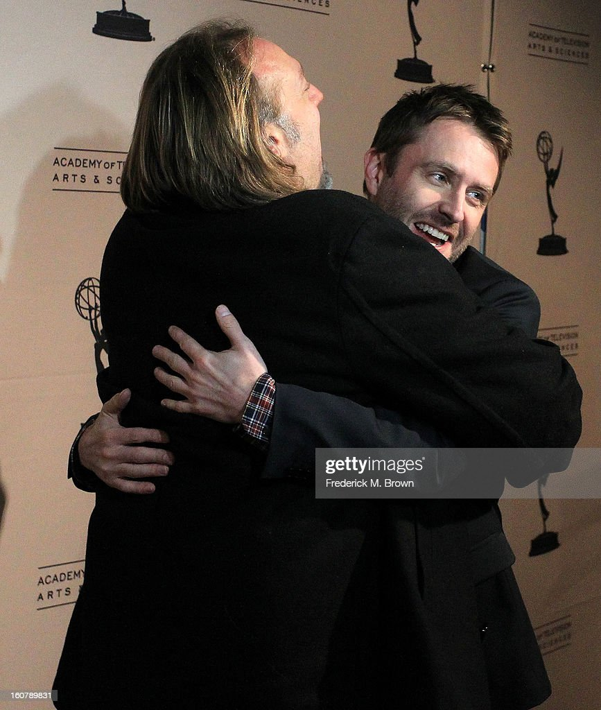 Greg Nicotero, (L) co-executive producer/special effect EFX makeup, and moderator <a gi-track='captionPersonalityLinkClicked' href=/galleries/search?phrase=Chris+Hardwick&family=editorial&specificpeople=960855 ng-click='$event.stopPropagation()'>Chris Hardwick</a> attend The Academy Of Television Arts & Sciences Presents An Evening With 'The Walking Dead' at the Leonard H. Goldenson Theatre on February 5, 2013 in North Hollywood, California.