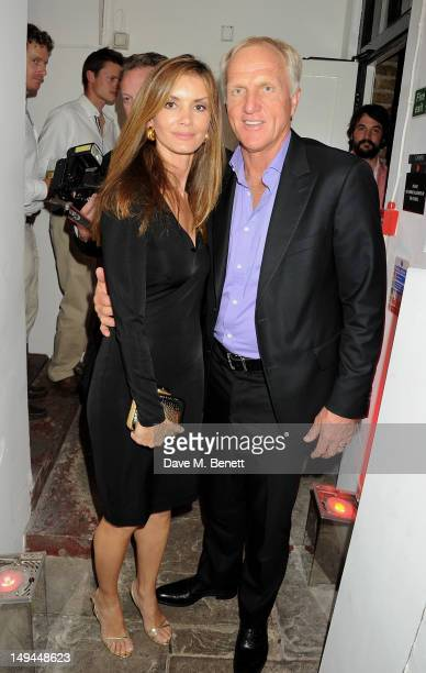 Greg Norman and Kirsten Kutner attend the private opening of OMEGA House OMEGA's official residence during the London 2012 Olympic Games at the House...