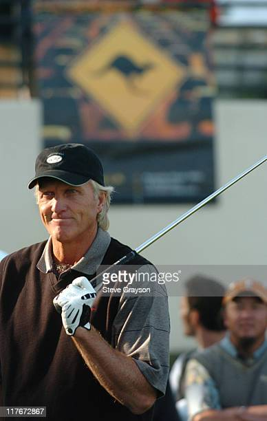 Greg Norman gives golfing tips to Australian and US Executives during Jacobs Creek Invitational Golf Day