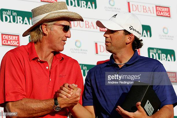 Greg Norman of Austraia and Sergio Garcia of Spain shake hands during a par 3 challenge match at Emirates Golf Club on January 30 2007 in Dubai...