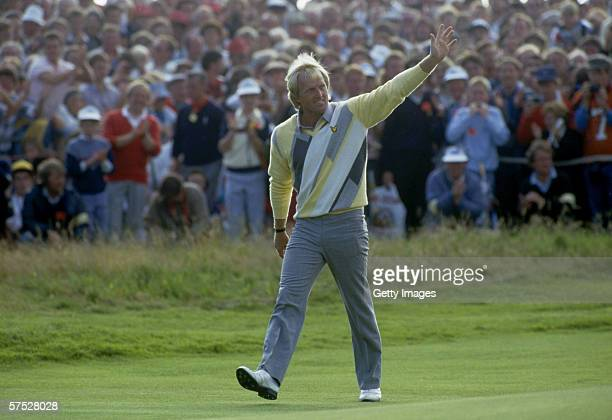Greg Norman of Australia celebrates after winning the title during the final round of the 1986 British Open Golf Championship held on July 20 1986 at...