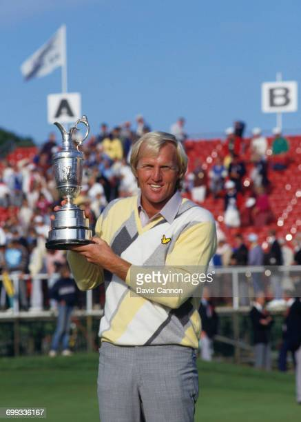 Greg Norman of Australia holds the Claret Jug after winning his first major title during the final round of the 115th Open Championship held on 20th...